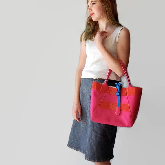 Mini A-Line Tote Bag in Hot Pink and Orange Stripe with Pineapple Gem Tie