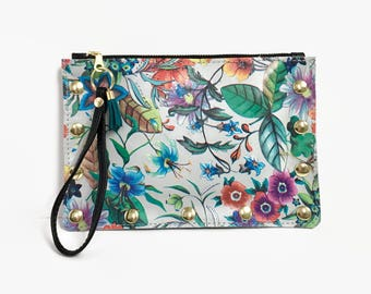 Wildflower clutch // leather floral wristlet // More Colors