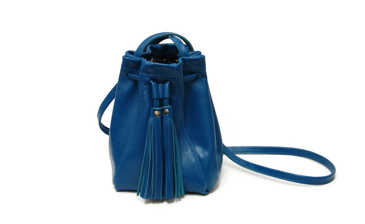 blue leather bucket bag mini tassel drawstring bucket bag