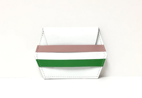 Leather card case // white stripe wallet // unique gift // leather wallet //  More Colors