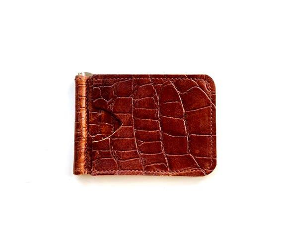 Slim & Simple money clip wallet in cognac leather
