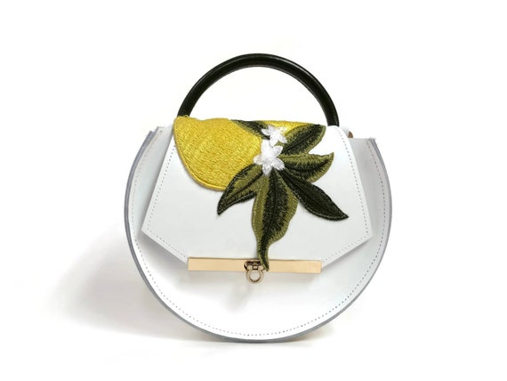 Loel Mini Military Bee Crossbody Bag in White Lemon