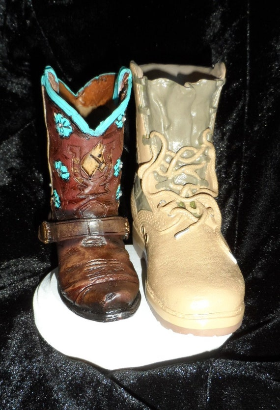 Military boot and cowgirl boot cake topper. Perfect for the | Etsy