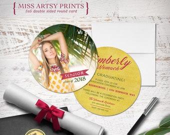Graduation 2018 Senior Photo Card Announcement Invitation Printable or Professionally Printed 5x5 Circle