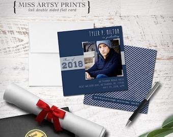 Graduation 2018 Senior Photo Card Announcement Invitation 5x5 Printable or Professionally Printed