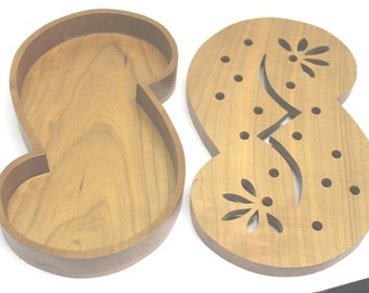Maple Hand Made Scroll Saw Gift Jewelry Ring Box Combo