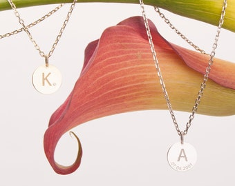 14K Gold Initial Necklace, Custom Solid Gold Disk Necklace