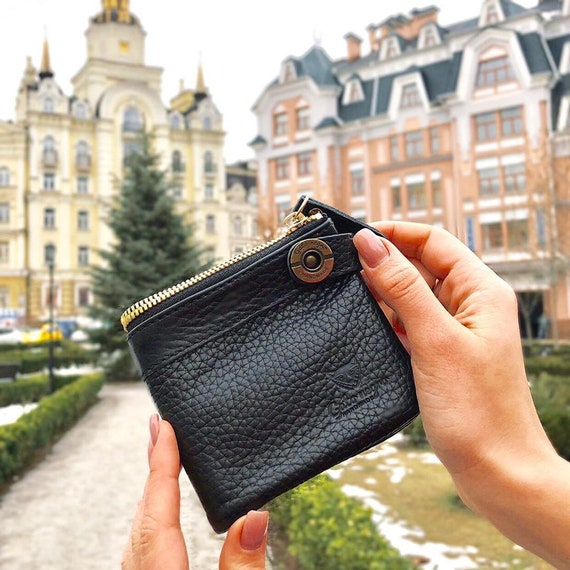 675a07931a4e Black leather wallet women or men, bifold small womens mens wallet
