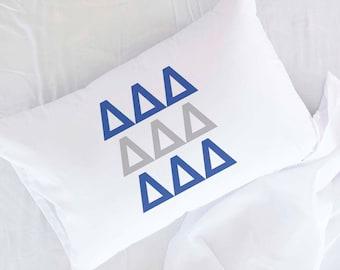 Sorority Letters Custom Printed in Sorority Colors Pillowcase, Delta Delta Delta, Tri-DeltaShown, All 26 NPC Sororities Available