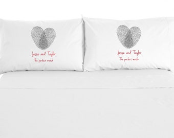 The Perfect Match, Fingerprint Heart, Custom Printed Valentine Pillowcase, Wedding Gift, Set of 2