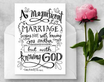 A 'Magnificent Marriage' Wedding Card, Instant Download, Printable, Wedding Shower gift, Digital Download, hand lettered card, custom card