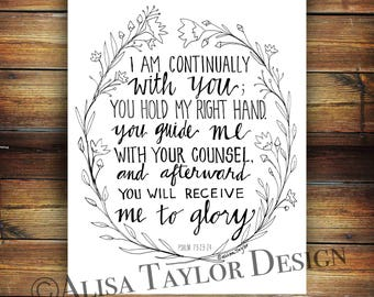 Instant Download of Psalm 73, Bible Verse, Adult Coloring page, Bible journaling, Bible verse wall art, coloring pages, printable coloring