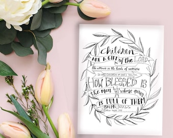 Psalm 127 illustrated card, Instant Download, adult coloring, nursery, baby gift, card, gift, bible verse