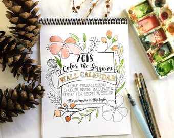 Wall Calendar 2018, Coloring book, Adult Coloring, Watercolor, Christmas gift ideas, stocking stuffer, gift ideas for women, secret santa