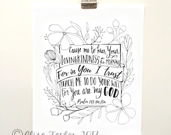 Hand Lettered Print of Psalm 143, Instant Download, floral, home decor, christian wall art, Bible verse print