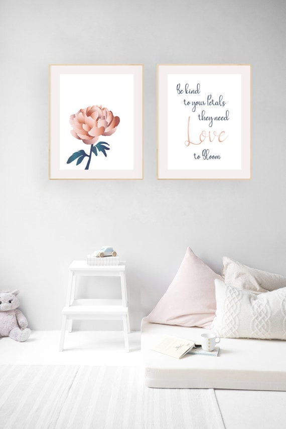 peony blossom print flower calligraphy love to bloom quote