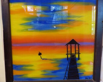 Hand Painted Window,Sunset Painting, Painted Window, Sunset Pictures, Repurposed Window, Home Decor, Wall Decor
