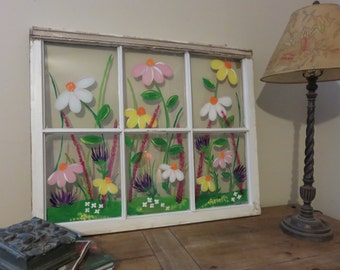 Hand Painted Window, Spring Flowers,Painted Window, Garden Painting, Flower Painting, Repurposed Window, Wall Decor