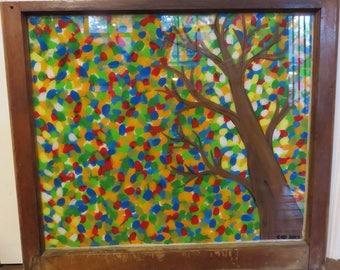 Hand Painted Window, Fall Leaves, Fall Tree, Fall Paintings, Painted Window, Tree Painting, Home Decor, Autumn Tree, Wall Decor