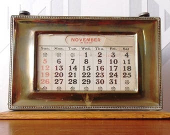 Vintage Brass and Wood Perpetual Calendar 1930s