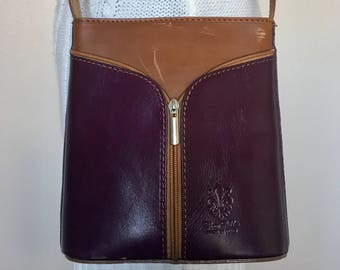 Vintage Italian Designer Vera Pelle Brown Purple Color Block Leather Shoulder Bag Purse