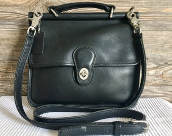 478058532c Vintage COACH 9927 Willis Station Black Leather Flap Shoulder Bag Messenger  Unisex