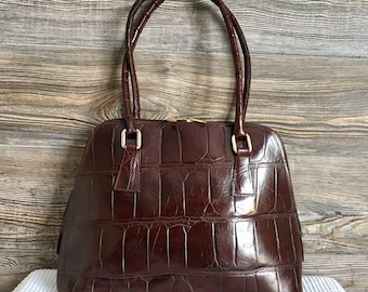 6e69d52a3a Vintage Nicoli Fernando Brown Croco Embossed Leather Satchel Shoulder Bag  Made in Italy