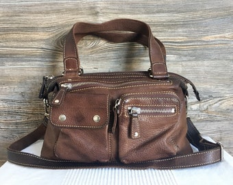 d113b72ae762 Vintage FOSSIL Brown Leather Crossbody Travel Shoulder Bag Purse