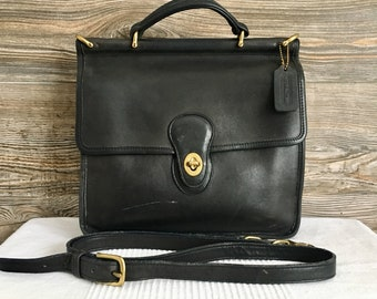 07b752bb59 Vintage COACH Black Leather Willis Station 9927 Flap Shoulder Bag Purse  Unisex