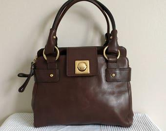 Vintage Banana Republic Brown Leather Satchel Shoulder Bag Purse 16dc18de1f4b7