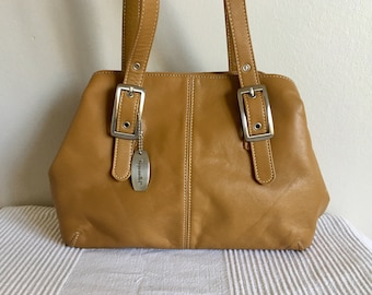 Vintage Tignanello Camel Brown Leather Satchel Hobo Style Shoulder Bag Purse 9dce99a52c