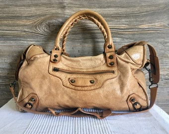 e061967a4a2d Vintage Balenciaga Beige Leather City Bag Satchel Shoulder Bag Purse