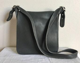 c3aba38a2c6c Vintage COACH Gray Leather Legacy Studio 9144 Messenger Flap Shoulder Bag