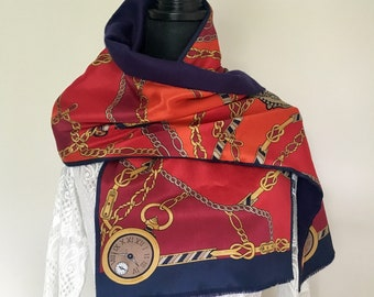 c7dd68bbbe Vintage Lord and Taylor Classic Reversible Long Scarf One Side Silk One  Side Wool