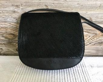 8c4c1c0d54c Vintage RLL Lauren Ralph Lauren Black Leather Pony Hair Flap Mini Shoulder Bag  Purse