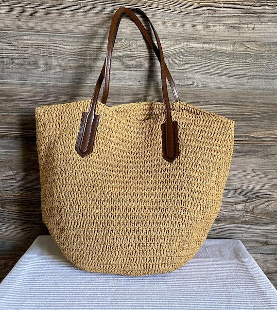 J CREW Woven Straw Shoulder Shopper Beach Bag Purs
