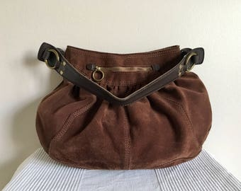 Lucky Brand Brown Suede Leather Trim Hobo Style Shoulder Bag Purse