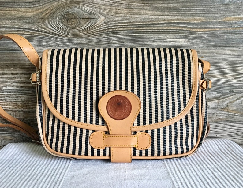 Vintage FENDI Tan Stripe Coated Canvas Shoulder Saddle Bag  eca309fcd09fd