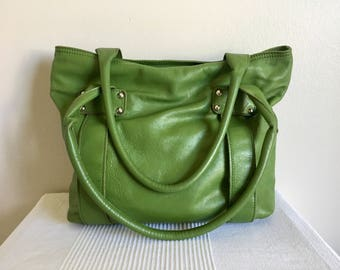 Italian Designer Innue Green Leather Hobo Shoulder Bag Purse