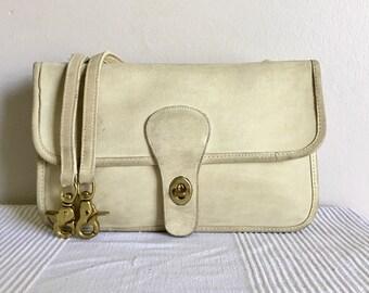Vintage COACH Bonnie Cashin Double Sided Ivory Leather Shoulder Bag Purse
