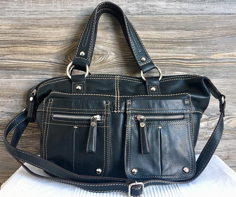 a35c9fa6e1 Vintage TIGNANELLO Black Leather Hobo Shoulder Bag Purse