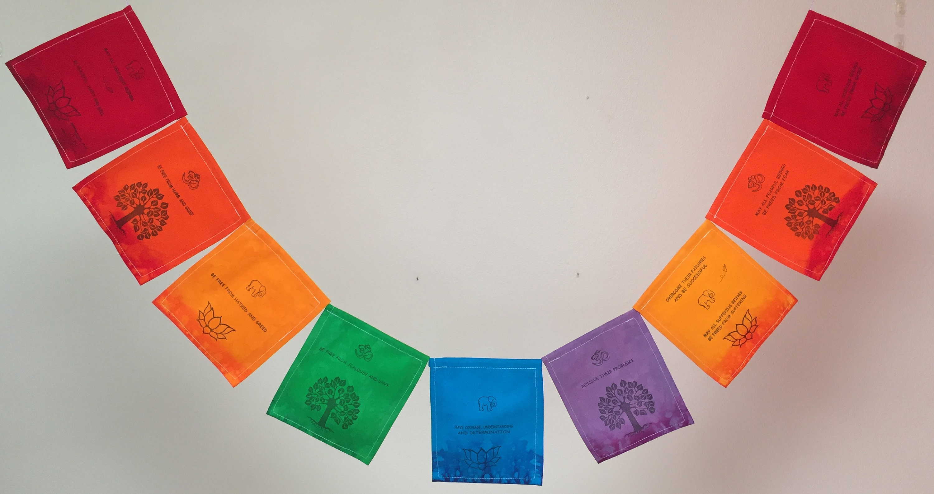 Buddhist Blessing Prayer Flag  All proceeds to families in Mexico