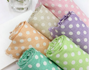 Cotton Linen Fabric Pastel Polka Dot In 5 Colors By The Yard