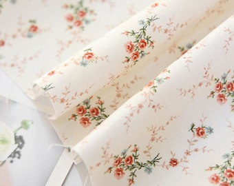 Cotton Fabric Mini Rose Ivory By The Yard