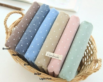 Chambray Cotton Fabric 2mm Polka Dot in 6 Pastel Colors By The Yard