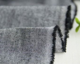 Pre-washed Chambray Cotton Fabric Gray By The Yard