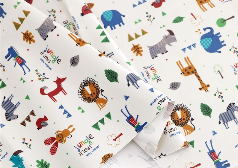 Laminated Cotton Fabric Jungle Animals By The Yard