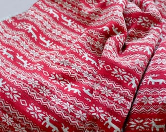 Brushed Sweater Knit Fabric Nordic Reindeer Red