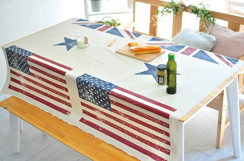 Laminated Linen Fabric Vintage Stars and Stripes