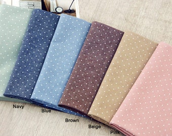 Chambray Cotton Fabric Mini Polka Dot in 4 Colors By The Yard